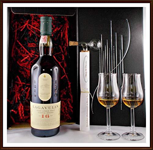 Geschenk No.2 Lagavulin 16 Jahre Single Malt Whisky + Portionierer + 2 Single Malt Gläser, kostenloser Versand