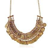 LUREME clásico grabado Moneda Babero Declaración Collar Clavicle Collar (01003295) Dorado