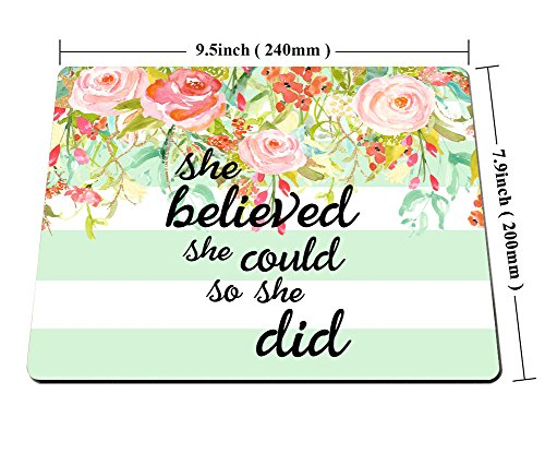 Smooffly Gaming Mouse Pad Custom,She Believed She Could Mint Stripe Mouse Pad - Neoprene Inspirational Quote Mousepad Photo #4