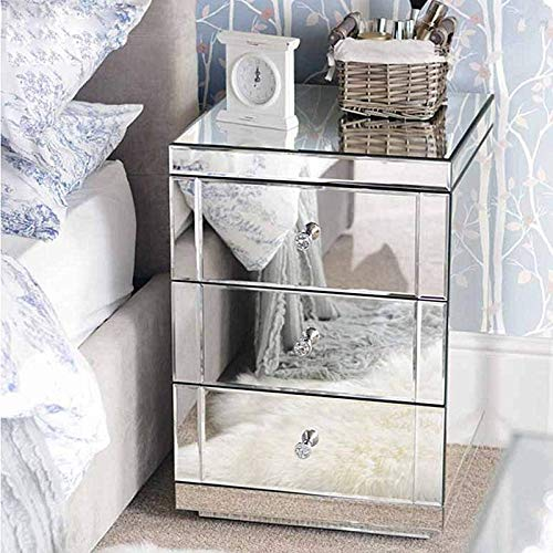 Panana - 1 * Cabecera Mesilla de Noche de 3 Cajones Espejos Cristal para Dormitorio Dejar Fotos Adornos Lámparas Teléfono