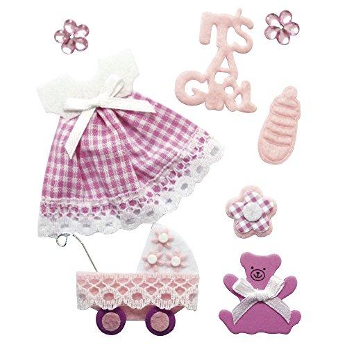"""Rayher 58431000 Deko-Sticker """"Baby Mädchen"""" in 3D-Optik, mit Klebepunkt, 8 Motive aus speziellen Materialien"""