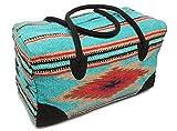 Mission Del Rey Southwest Go West Travel Bag -Weekender Duffle Bag, Hand Woven Rug Bag w/Leather Handles -El Paso Saddle Blanket (C-Teal, X-Large)