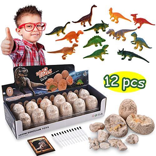 CASAON Dig a Dozen Dinosaur Eggs Kit - Break Open 12 Unique Dinosaur Eggs and Discover 12 Cute Dinosaurs - Easter Archaeology Science STEM Dinosaurs Gift for Kids