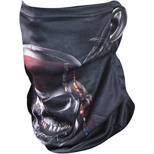 Neck Gaiters Breath Face Mask, BINACL Seamless Balaclava Washable Reusable Headband Skeleton Pirate Printed with Ear Holes Non Slip Stretchy Scarf Bandana for Outdoors Sports Running Cycling Fishing