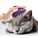 CeleMoon [Soft Silicone Pins] Silicone Washable Cat Grooming Shedding Tool/Massage Brush for Long and Short Hair, Reduce Shedding by 90% - No Scratching Any More & Fits Your Hands So Well - Purple
