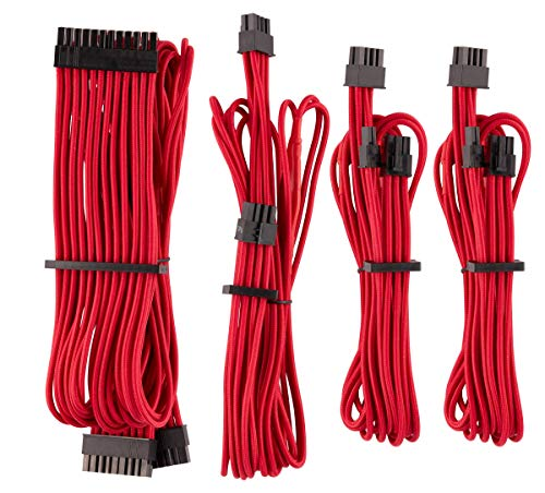 CORSAIR Premium Individually Sleeved PSU Cables Starter Kit – Red, 2 Yr Warranty, for Corsair PSUs