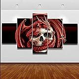 Yuanjun Cuadros Modulares De Las Ilustraciones De La Pared De La Pintura De La Lona Para La Sala De Estar 5 Panel/Set Impreso En La Pared 150X80Cm Cráneo Horror Enmarcado