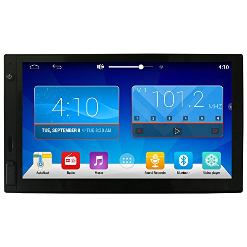 Ezonetronics HD 7' Android4.4 Double 2 Din Capacitive Touch Screen Car Stereo Radio BT Camera Build-in GPS receiver compatible with Waze Navfree Google Map