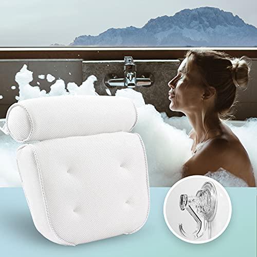 Vesta+ Badekissen Set mit Wandhaken & Saugnäpfen, Das Badewannenkissen Nacken als Kopfkissen & Kopfstütze für Wanne oder Whirlpool, Dein Badewannen Zubehör Testsieger bei Nackenkissen Badewanne
