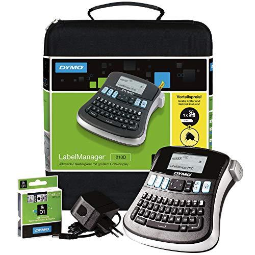 DYMO LabelManager 210D Handheld-Etikettendrucker-Set, QWERTY-Tastatur, mit 12 mm schwarzen auf weißen D1-Etiketten und Tragetasche