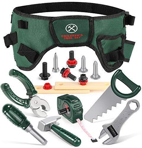 GeyiieTOYS 20 Teiliges Werkzeuggürtel Kinder Spielzeug Werkzeug Spielwerkzeug Werkzeugset Kinder für 3 4 5 jährige Mädchen Jungen