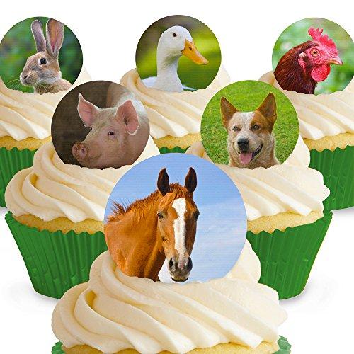 Cakeshop 12 x Vorgeschnittene und Essbare Nutztiere Kuchen Topper (Tortenaufleger, Bedruckte Oblaten, Oblatenaufleger)
