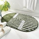 SDCVRE Alfombra de baño Alfombra de baño Ovalada Alfombra de baño de Microfibra a Rayas Moderna Alfombra de baño Gruesa y súper Suave Alfombra de baño Absorbente Antideslizante, 03,45x65cm