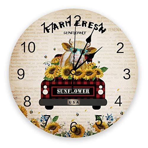 Reloj de pared estilo granja de 9,8 pulgadas, reloj colgante redondo que funciona con pilas, relojes decorativos para la guardería, dormitorio, sala de estudio, hogar, camión Vitage con gafas de sol d