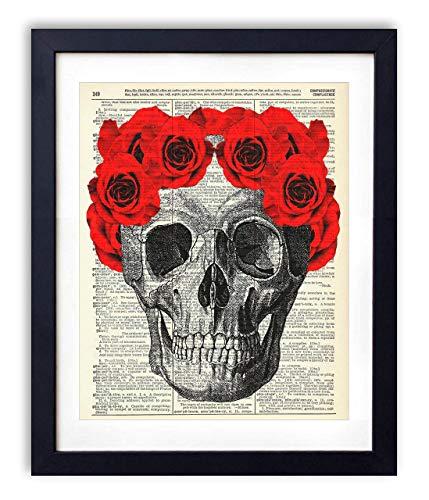 Skull, Skeleton Anatomy Vintage Dictionary Art Print, Modern Contemporary Wall Art for Home Decor, Boho Poster Sign 8x10 Inches, Unframed (Skull with Red Roses #2)