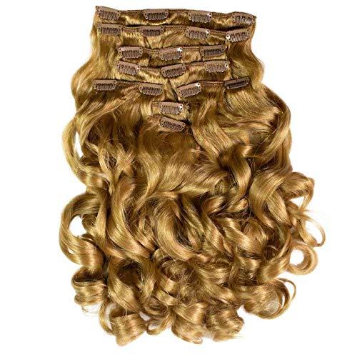 Hair2Heart Extension à Clipser Bouclées Synthétiques 12 Blond Miel 60 cm 8 Pièces