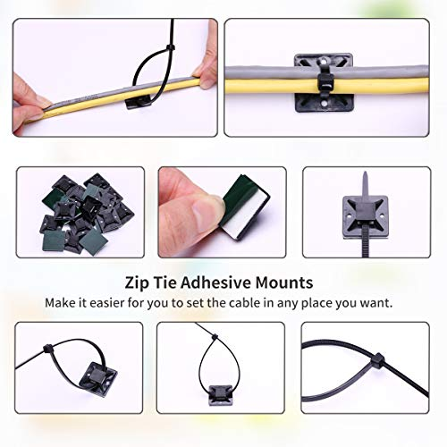 600pcs black Standard Self-Locking Nylon Cable Zip Ties Assorted Sizes 4/6/8/10/12 Inch with cable mount