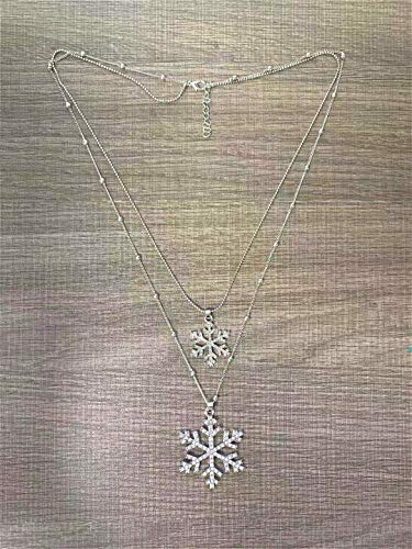 Cathercing Crystal Dubbele Sneeuw Flake Hanger Lange Ketting voor Vrouwen Trui Ketting Ketting Choker Verstelbare Elegante Sieraden Strass Accessoires Dressy Collocation Winter Avond Party
