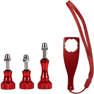 4 teiliges Aluminium Daumenschrauben Set und Schraubenschlüssel für GoPro Hero 8/7/6/5/5S/4/4S/3+ DJI OSMO Action Kamera, rot