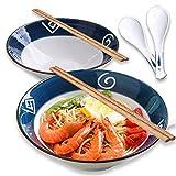 Whitejianpeak 2 ciotole giapponesi Ramen in ceramica grande con bacchette e cucchiaio, 1000 ml, ciotola per insalata, Udon, per cereali, pasta, soa, pho, pasta asiatica