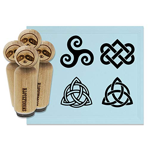 Celtic Symbols Triquetra Knot Triskele Spiral Rubber Stamp Set for Stamping Crafting Planners - 1/2 Inch Mini