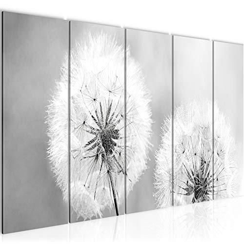 Bilder Blumen Pusteblume Wandbild 200 x 80 cm Vlies - Leinwand Bild XXL Format Wandbilder Wohnzimmer Wohnung Deko Kunstdrucke Grau 5 Teilig - MADE IN GERMANY - Fertig zum Aufhängen 207155c