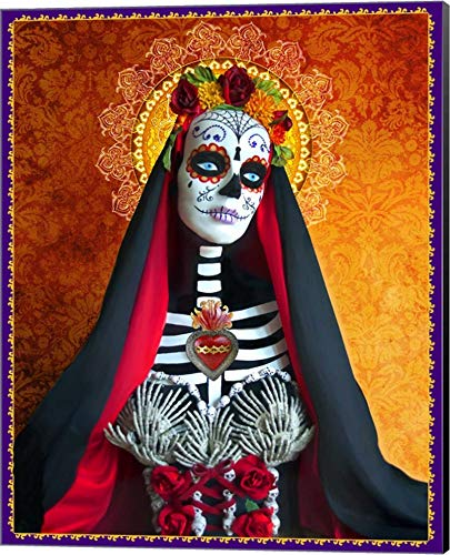 DOD-Santa Muerte by Tammy Wetzel Canvas Art Wall Picture, Museum Wrapped with Black Sides, 16 x 20 inches