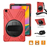 BRAECNstock Galaxy Tab A 10.1 Case 2019,Heavy Duty Shockproof Rugged Case,360 Degree Rotating Hand Strap/Kickstand/Shoulder Strap Case for Samsung Galaxy tab A 10.1 Inch Tablet SM-T510/T515 (Red)