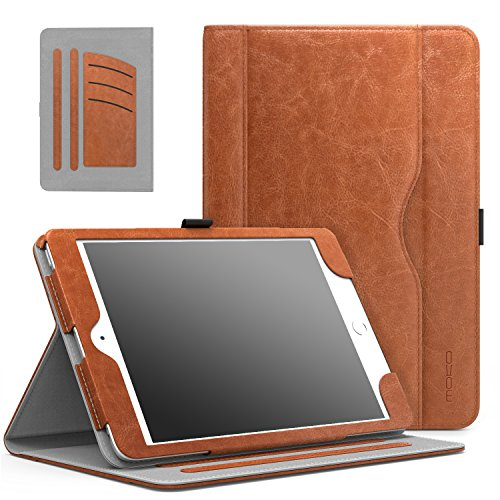 MoKo Case Fit iPad Mini 1/2 / 3, Slim Folding Stand Folio Cover Case for iPad Mini 1 / Mini 2 / Mini 3, with Auto Wake/Sleep and Document Card Slots, Multiple Viewing Angles, Brown