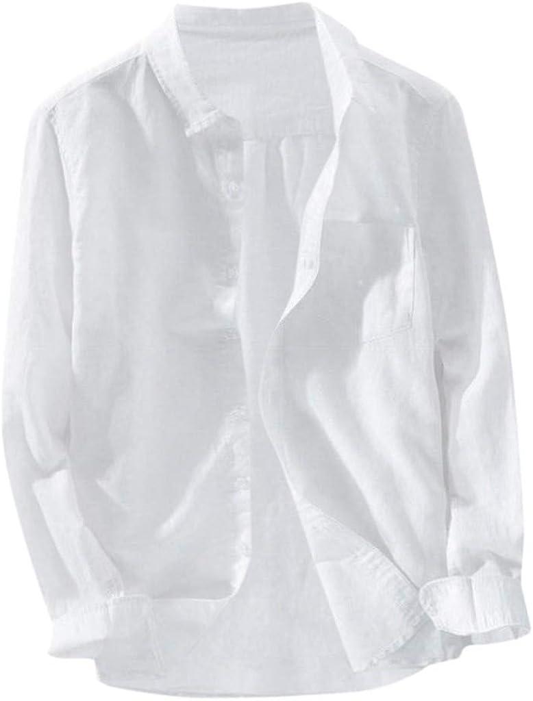 WUAI-Men Regular-Fit Long-Sleeve Linen Shirts Banded Collar Casual Button Down Loose Hippie Yoga Shirts