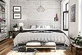 Novogratz Bushwick Metal Bed with Headboard and Footboard   Modern Design   King Size - White