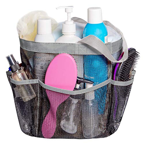 Attmu Mesh Shower Caddy, Quick Dry Tote Bag Oxford Hanging Toiletry and Bath Organizer with 8 Storage Compartments for Shampoo, Conditioner, Soap and Other Bathroom Accessories