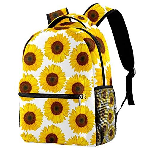 Mochila duradera para niños y niñas, diseño de girasol amarillo, bolsa de escuela blanca, mochila ligera, gran mochila