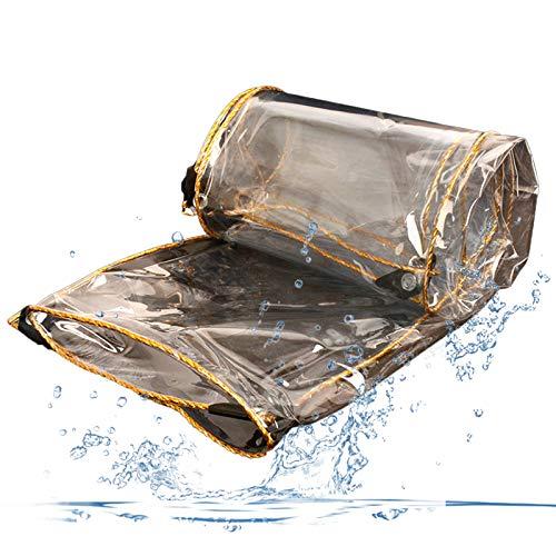 Tarpaulin Waterproof Heavy Duty Glass Clear QIANDA Tarpaulin Waterproof Heavy Duty, Thicken Transparent Canopy Waterproof Rainproof Moisturizing With Metal Grommets For Roof, Outdoor, Patio, Size Cust