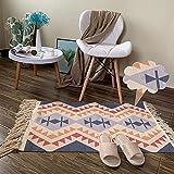 Baumwollteppiche rutschfest, 60x100cm Waschbar Gewebte Teppiche mit Quaste für Küche, Wohnzimmer, Schlafzimmer, Flur-11