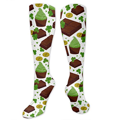 St. Patrick's Day Shamrock Golden Coins Chocolate Funny Athletic Socks Best Knee High Socks For Women And Men Running Travel