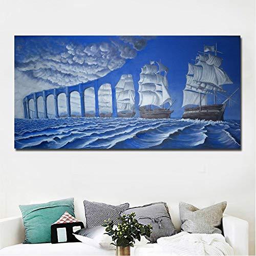 ZYBKOG Abstrakte Kunst Moderne Surrealismus-Gemälde Blaue Brücke und Meeresmalerei Gedruckt auf Leinwand Wandkunstdruck Poster Home Decor
