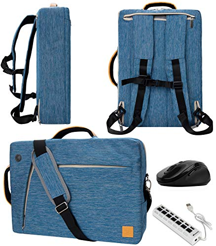 VanGoddy Slate Blue 13.3-Inch Convertible Laptop Bag with USB Hub and Mouse for Fujitsu LifeBook and Stylistic Series