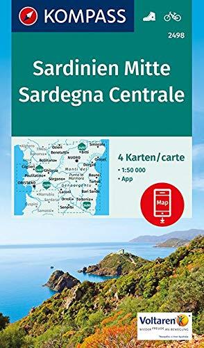 KOMPASS Wanderkarte Sardinien Mitte, Sardegna Centrale: 4 Wanderkarten 1:50000 im Set inklusive Karte zur offline Verwendung in der KOMPASS-App. Fahrradfahren. (KOMPASS-Wanderkarten, Band 2498)