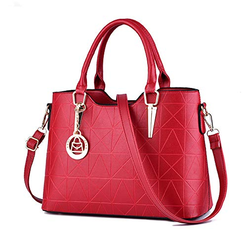 LIZHIGU Womens Leather Shoulder Bag Tote Purse Fashion Top Handle Satchel Handbags Wine Red
