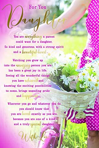 voor U Dochter Sentimenten Bloemen & Fiets Gelukkig Verjaardagskaart Mooie Vers