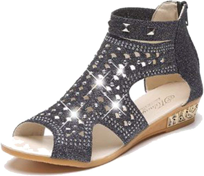 Elsa Wilcox Womens Platform Comfort Zipper Summer Dress Bootie Peep Toe Low Wedges Sandals with Sparkly Rivets