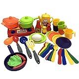 TikTakToo Miniküche mit Töpfen Pfanne Lebensmittel komplett 41 teilig mit Geschirr und Besteck für die Spielküche