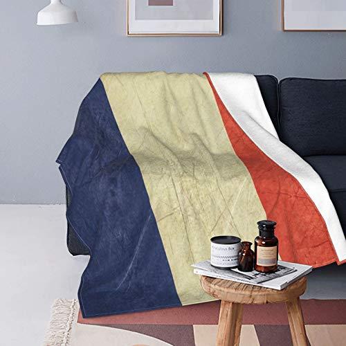 Felpa Manta de Tiro para Todas las Estaciones Suave Ligero,Bandera de Estado soberano francés del país Francia en paisaje de colores oficiales,Manta de Cama Edredón de Viaje para Sofá Cama,50' X 60'