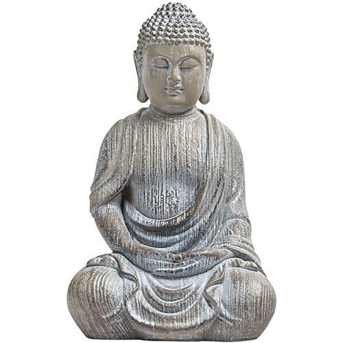 Meditating Buddha Statue Figurine, 6.7inch Buddha Serene Decorative Sitting Resin Zen Sculpture Decoration for Home Outdoor Garden Patio Desk Porch Yard Art Decoration, Zen Decor (Waterproof)