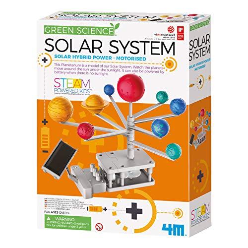 4MKidzlabsGreenScience/Solaire Hybride:Planetarium SYSTÈME Solaire MOTORISÉ, nécessite 1 Pile AAA 1,5V et Un Petit Tournevis cruciforme (excl.), Instructions incluses, en boîte 20,5x27,5x6cm, 5+