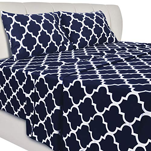 Utopia Bedding Printed Bed Sheet Set- Soft Brushed Microfiber Fabric-Easy Care - Wrinkle, Shrinkage and Fade Resistant 4 Piece Bedding (Queen, Quatrefoil Navy)
