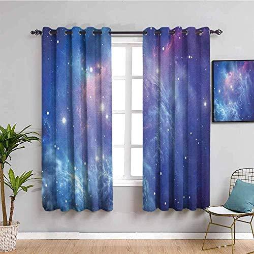 LucaSng Cortinas de Opacas - Azul Cielo Estrellado Estrellas Galaxia - 140x160 cm para Sala Cuarto Comedor Salon Cocina Habitación - 3D Impresión Digital con Ojales Aislamiento Térmico Cortinas