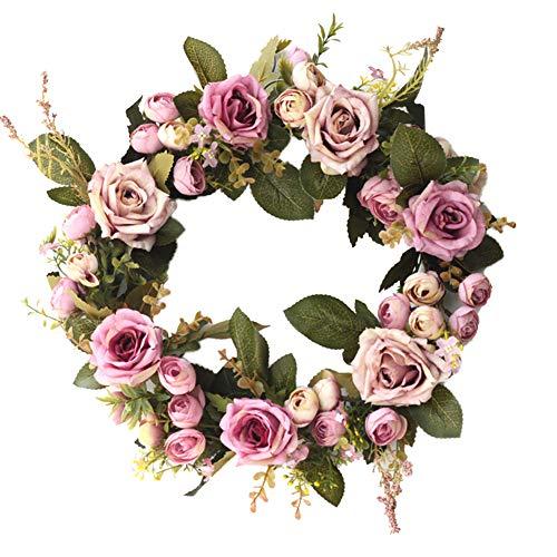 Meideli Garlands for Christmas Decor, 35cm Flower Rose Merry Christmas Garland Wreath Home Party Door Hanging Decor - Purple