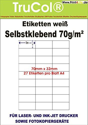 ADHESIVE standaard laserfilms 1000 Blatt / 27000 Etiketten Kleur: wit